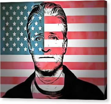 American Icon Jon Stewart Canvas Print by Dan Sproul