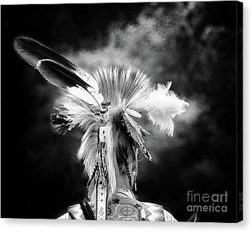 American Indian In Black And White Canvas Print by Tom Gari Gallery-Three-Photography