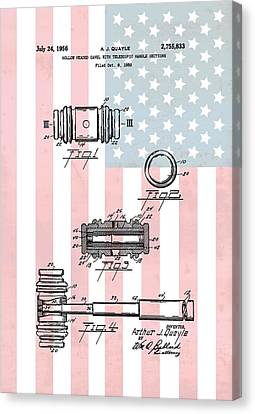 American Law Gavel Patent Canvas Print by Dan Sproul