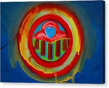 Canvas Print featuring the painting American Love Button by Charles Stuart