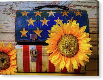 American Lunchbox With Sunflower Canvas Print