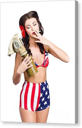 American Military Pin Up Girl Holding Gasmask  Canvas Print