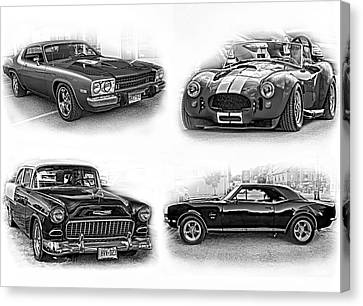 American Muscle Collage Bw Canvas Print