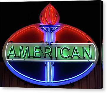 Canvas Print featuring the photograph American Oil Sign by Sandy Keeton