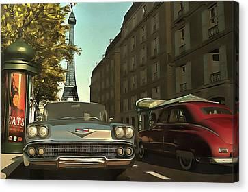 American  Oldtimers In Paris Canvas Print