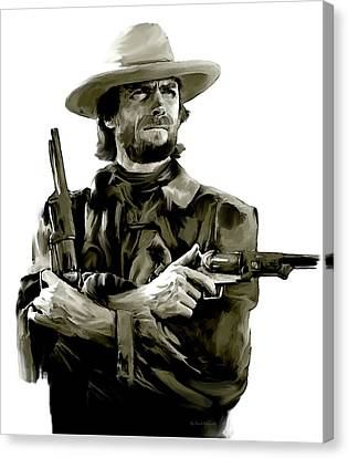 American Outlaw V Clint Eastwood Canvas Print by Iconic Images Art Gallery David Pucciarelli