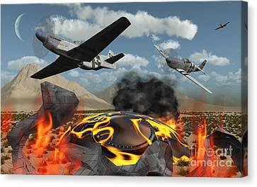 American P-51 Mustang Fighter Planes Canvas Print by Mark Stevenson