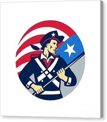 American Patriot Holding Brandish Usa Flag Circle Retro Canvas Print by Aloysius Patrimonio