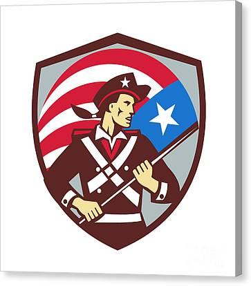 American Patriot Holding Brandish Usa Flag Crest Retro Canvas Print by Aloysius Patrimonio