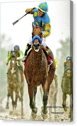 Computing Canvas Print - American Pharoah And Victor Espinoza Win The 2015 Preakness Stakes. by Thomas Pollart