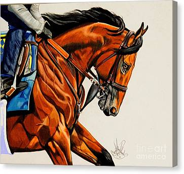 American Pharoah - Triple Crown Winner In White Canvas Print