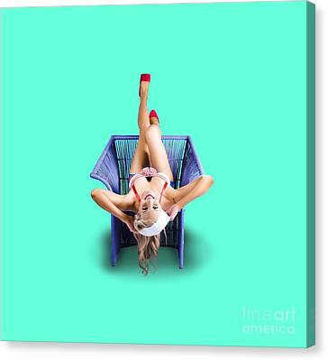American Pinup Woman Upside Down On Cane Chair Canvas Print by Jorgo Photography - Wall Art Gallery