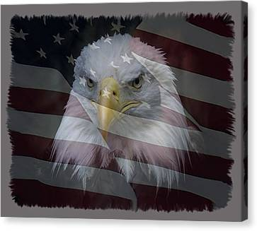 Eagle And Flag Canvas Print - American Pride 2 by Ernie Echols