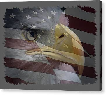 Eagle And Flag Canvas Print - American Pride 3 by Ernie Echols