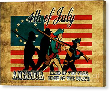 American Revolution Soldier Marching Canvas Print by Aloysius Patrimonio