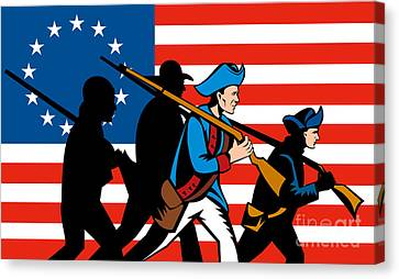 American Revolutionary Soldier Marching Canvas Print by Aloysius Patrimonio