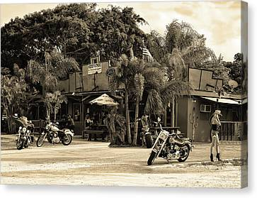 Canvas Print featuring the photograph American Roadhouse Sepia by Laura Fasulo