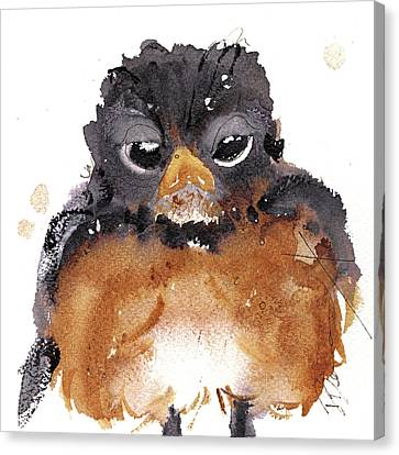 Canvas Print featuring the painting American Robin by Dawn Derman