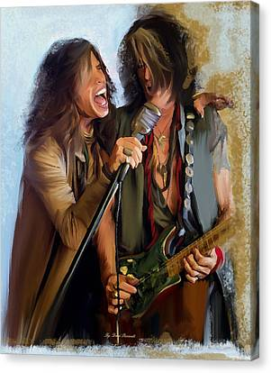American Rock  Steven Tyler And Joe Perry Canvas Print by Iconic Images Art Gallery David Pucciarelli