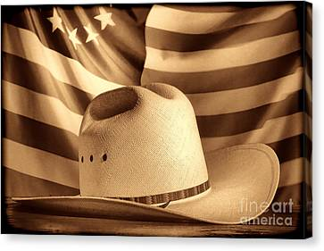 American Rodeo Cowboy Hat Canvas Print by American West Legend By Olivier Le Queinec