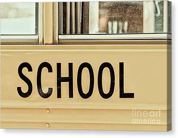 School Bus Canvas Print - American School Bus Sign by Radu Bercan