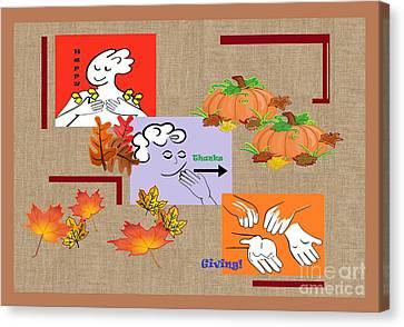 American Sign Language Asl Happy Thanksgiving Canvas Print by Eloise Schneider