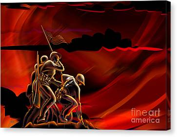 4th July Canvas Print - American Soldiers by Peter Awax