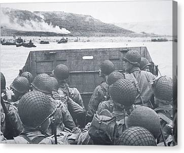 American Troops In Landing Craft Head For Omaha Beach, 6th June 1944 Canvas Print by American School