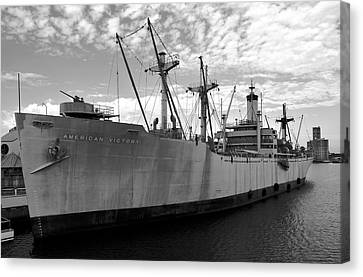 American Victory Ship Tampa Bay Canvas Print by David Lee Thompson
