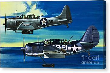 Avengers Canvas Print - American Ww2 Planes Douglas Sbd1 Dauntless And Curtiss Sb2c1 Helldiver by Wilf Hardy