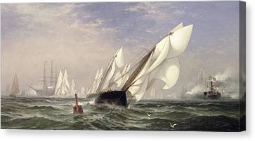 American Yacht Sappho Winning The Race With The English Yacht Livonia For The Americas Cup Canvas Print by Edward Moran