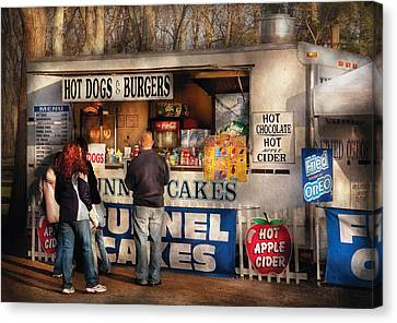 Americana - Food - Hot Dogs And Funnel Cakes Canvas Print by Mike Savad