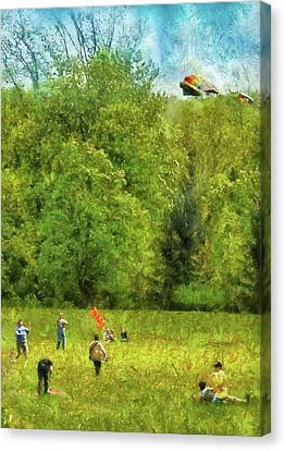 Americana - People - Let's Go Fly A Kite Canvas Print by Mike Savad