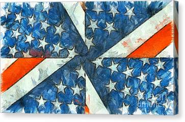 Fourth Canvas Print - Americana Abstract by Edward Fielding
