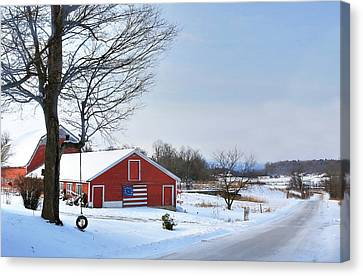 Canvas Print featuring the digital art Americana Barn In Vermont by Sharon Batdorf