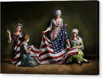 Americana - Flag - Birth Of The American Flag 1915 Canvas Print by Mike Savad