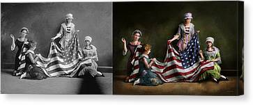 Americana - Flag - Birth Of The American Flag 1915 - Side By Side Canvas Print
