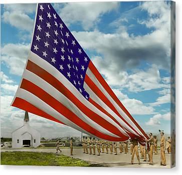 Americana - Fort Hood Texas - Unfolding The Flag 1944 Canvas Print by Mike Savad