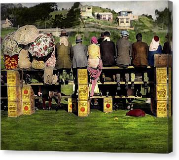 Americana - People - A Well Oiled Game 1932 Canvas Print by Mike Savad