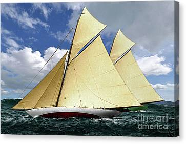 1920 America's Cup - Resolute Vs Shamrock Iv Schooners Marine Art Canvas Print by Thomas Pollart