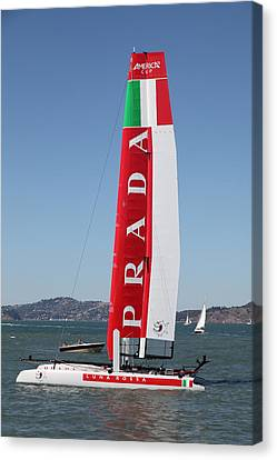 Sanfrancisco Canvas Print - America's Cup In San Francisco - Italy Luna Rossa Paranha Sailboat - 5d18216 by Wingsdomain Art and Photography