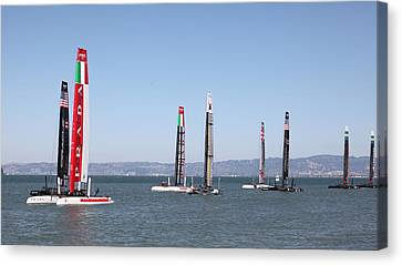 America's Cup Sailboats In San Francisco - 5d18205 Canvas Print by Wingsdomain Art and Photography