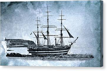 Amerigo Vespucci Sailboat In Blue Canvas Print by Pedro Cardona