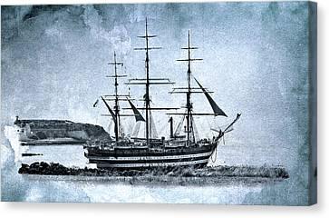 Amerigo Vespucci Sailboat In Blue Canvas Print by Pedro Cardona Llambias