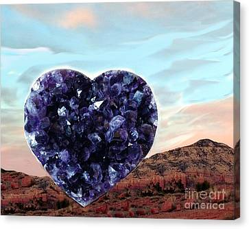 Amethyst Vortex Heart Sedona Canvas Print by Marlene Rose Besso