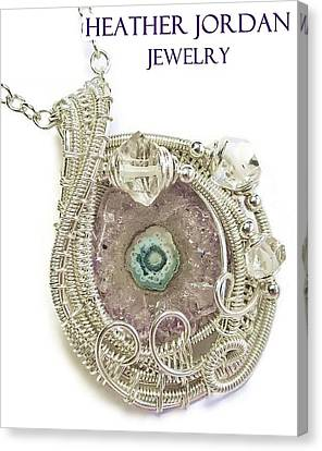 Amethyst Stalactite Slice Druzy Wire-wrapped Pendant In Sterling Silver With Herkimer Diamonds Canvas Print by Heather Jordan