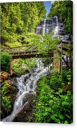 Canvas Print featuring the photograph Amicalola Falls Top To Bottom by Debra and Dave Vanderlaan