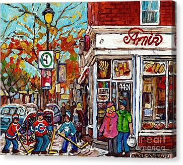Amir Rue Wellington Verdun Restaurant Painting Hockey Art Canadian City Scene Carole Spandau         Canvas Print by Carole Spandau
