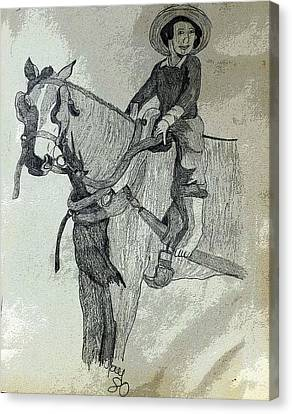 Amish Boy On A Horse Canvas Print by Joyce Wasser
