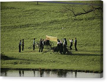Amish Buggies Anchor A Volleyball Net Canvas Print by Ira Block